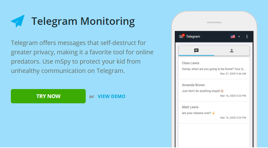 Telegram monitoring for iPad 8